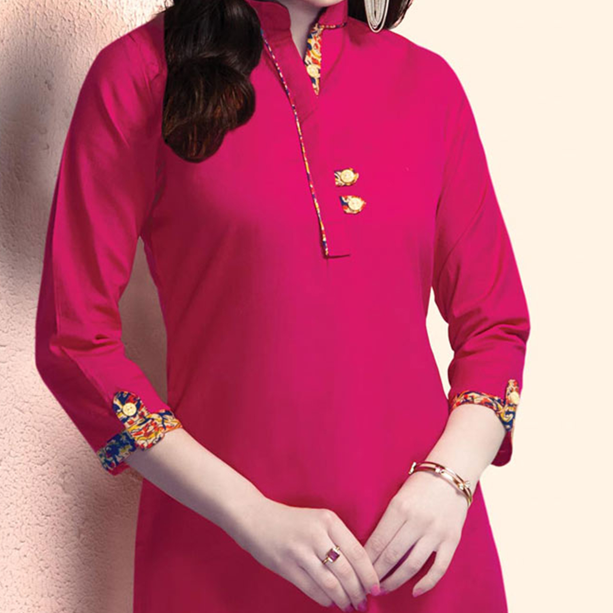 Eye-Catching Fuschia Pink Colored Casual Wear Cotton Kurti