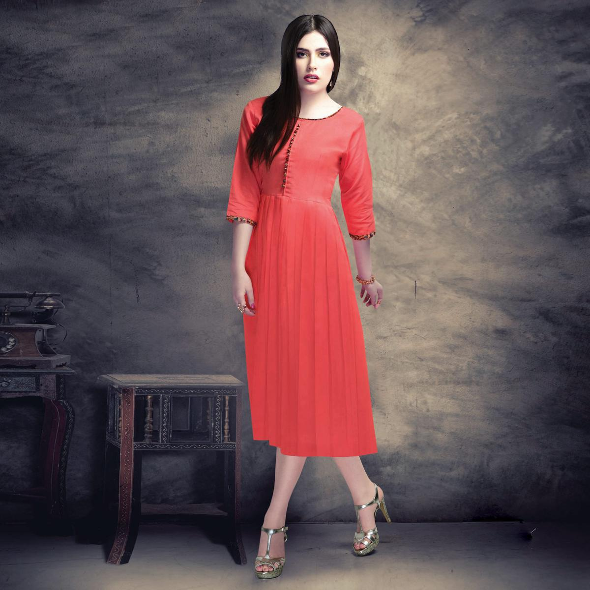 Pretty Peach Colored Casual Wear Cotton Kurti