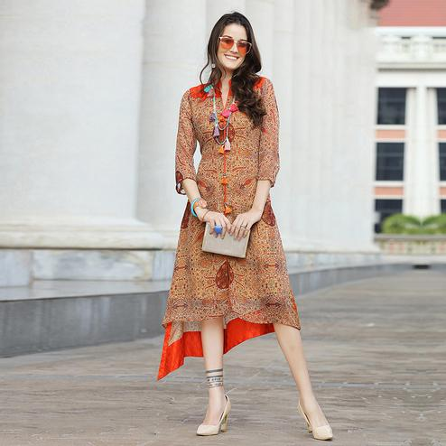 Mesmerizing Orange Colored Casual Printed Georgette Kurti