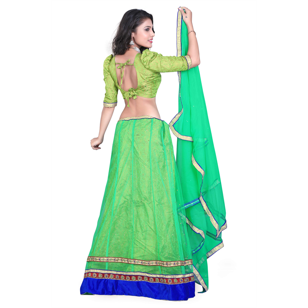 Green Net Fabric Designer Lehenga