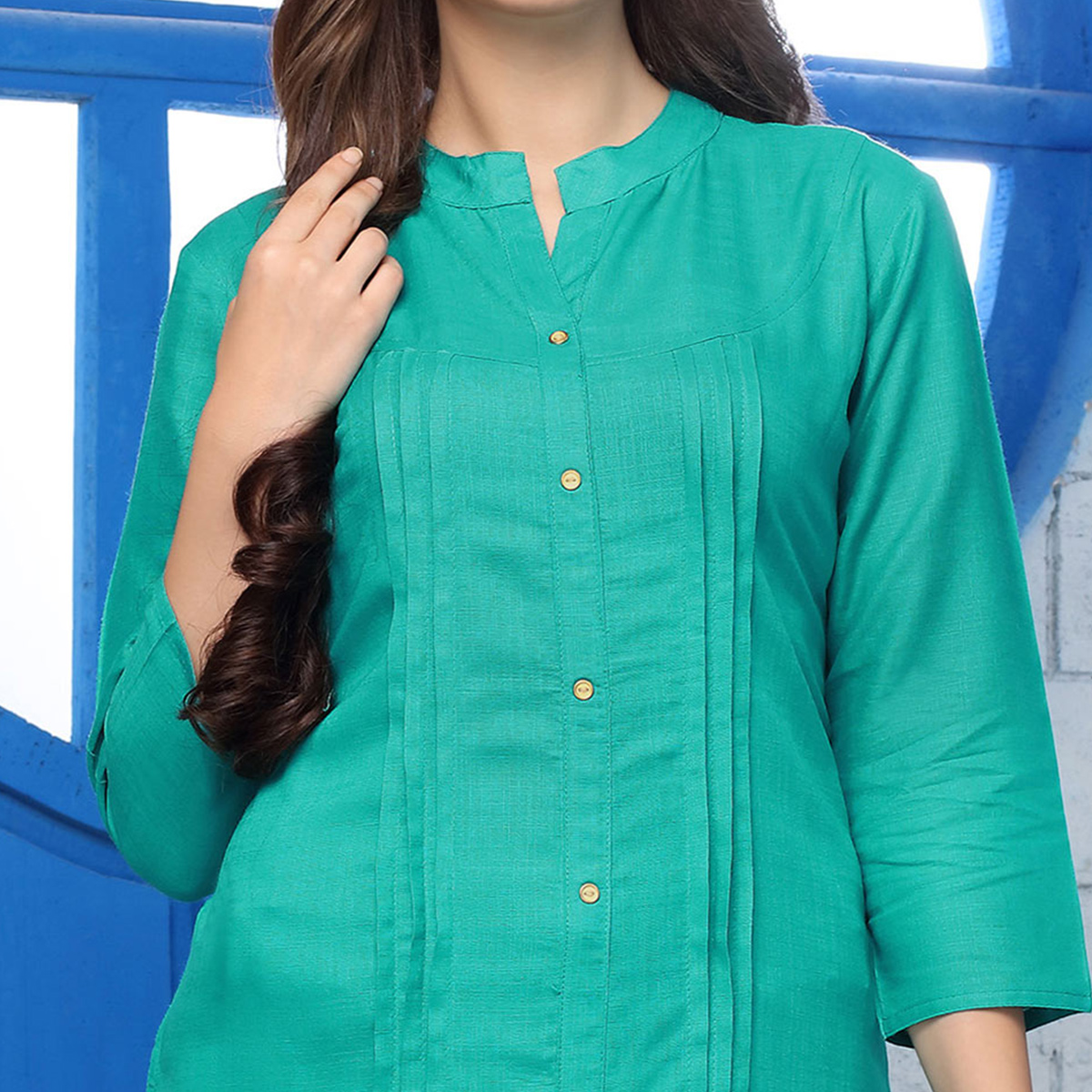 Opulent Turquoise Green Colored Casual Wear Cotton Kurti