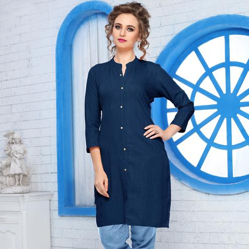 Impressive Navy Blue Colored Casual Wear Cotton Kurti