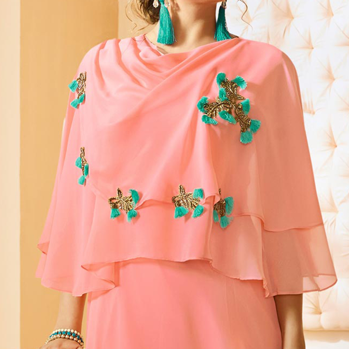 Awesome Peach Colored Embroidered Georgette Long Kurti