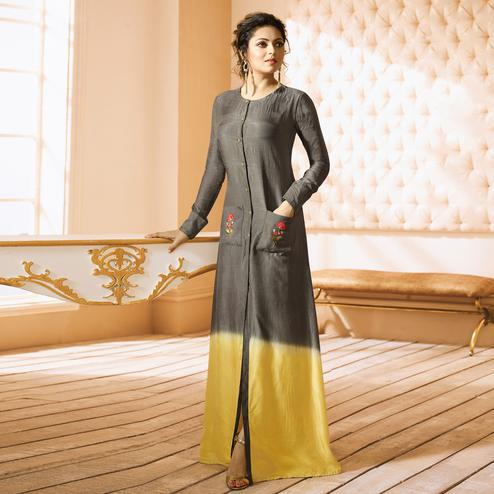 Demanding Gray Colored Embroidered Long Chanderi Silk Kurti