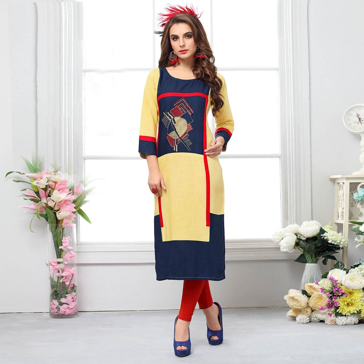 Pleasance Yellow-Navy Blue Colored Casual Embroidered Cotton Kurti