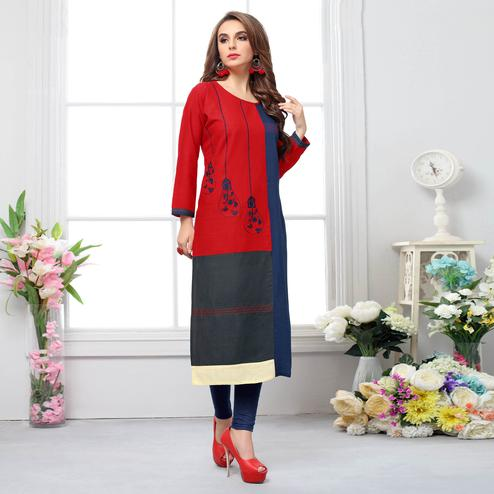 Impressive Red-Blue Colored Casual Embroidered Cotton Kurti