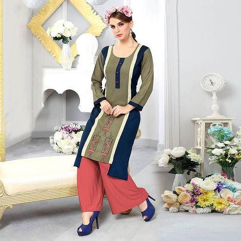 Exceptional Olive Green-Navy Blue Colored Casual Embroidered Cotton Kurti