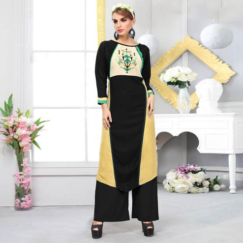 Majestic Black-Yellow Colored Casual Embroidered Cotton Kurti