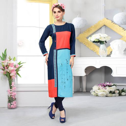 Eye-Catching Multi Colored Casual Embroidered Cotton Kurti