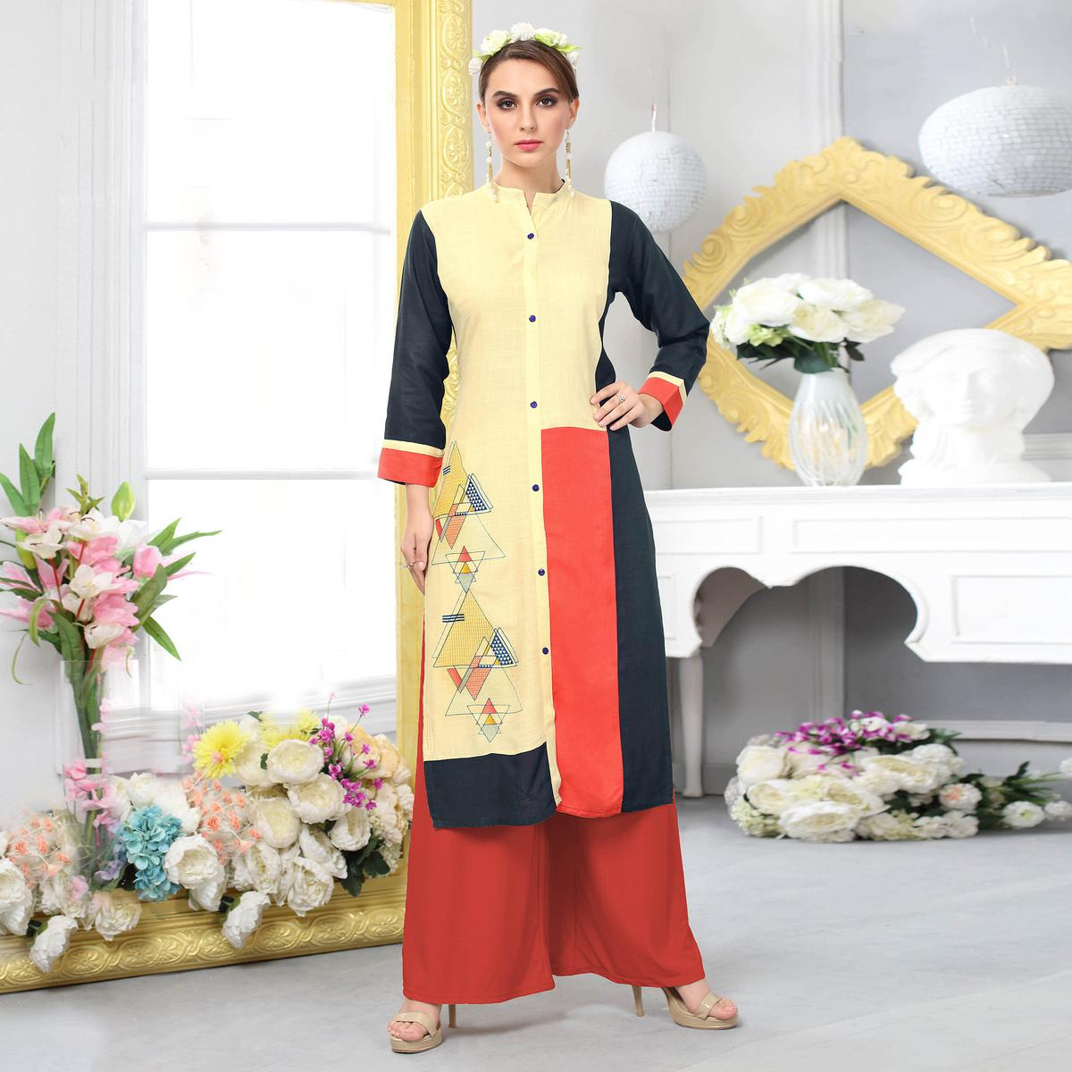 Beautiful Light Yellow Colored Casual Embroidered Cotton Kurti