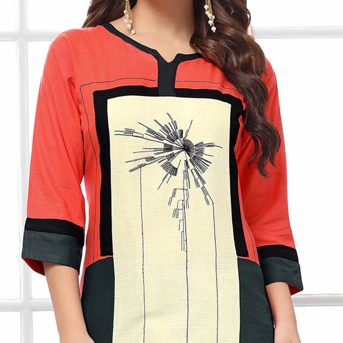Irresistible Multi Colored Casual Embroidered Cotton Kurti