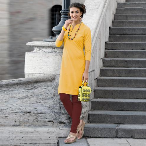 Jazzy Yellow Colored Casual Wear Cotton Kurti