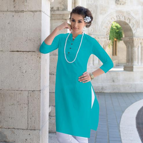 Classy Sky Blue Colored Casual Wear Cotton Kurti