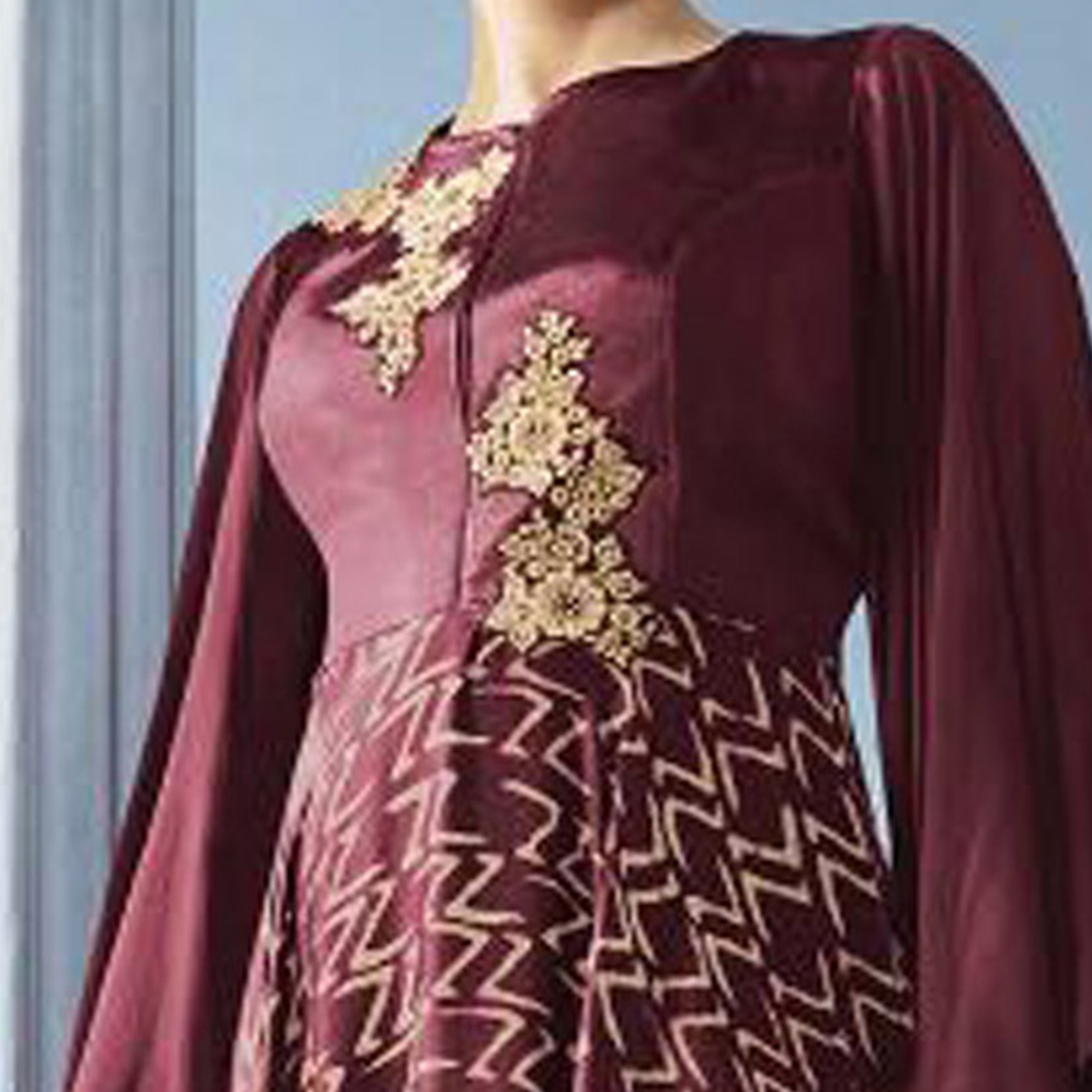Traditional Maroon Colored Partywear Embroidered Georgette Long Kurti