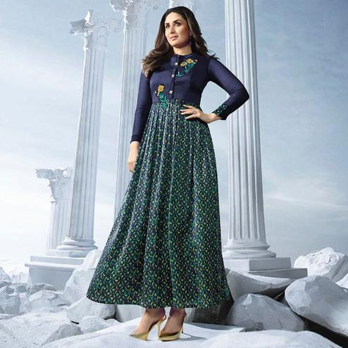 Impressive Navy Blue Colored Partywear Embroidered Georgette Long Kurti