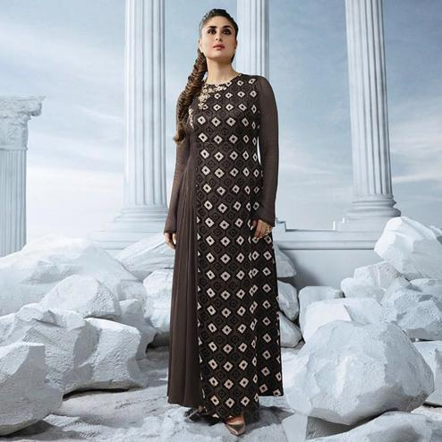 Blooming Brown Colored Partywear Embroidered Georgette Long Kurti