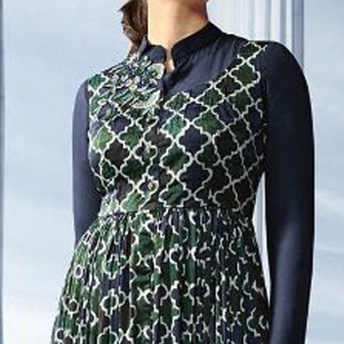Exceptional Navy Blue Colored Partywear Embroidered Georgette Long Kurti