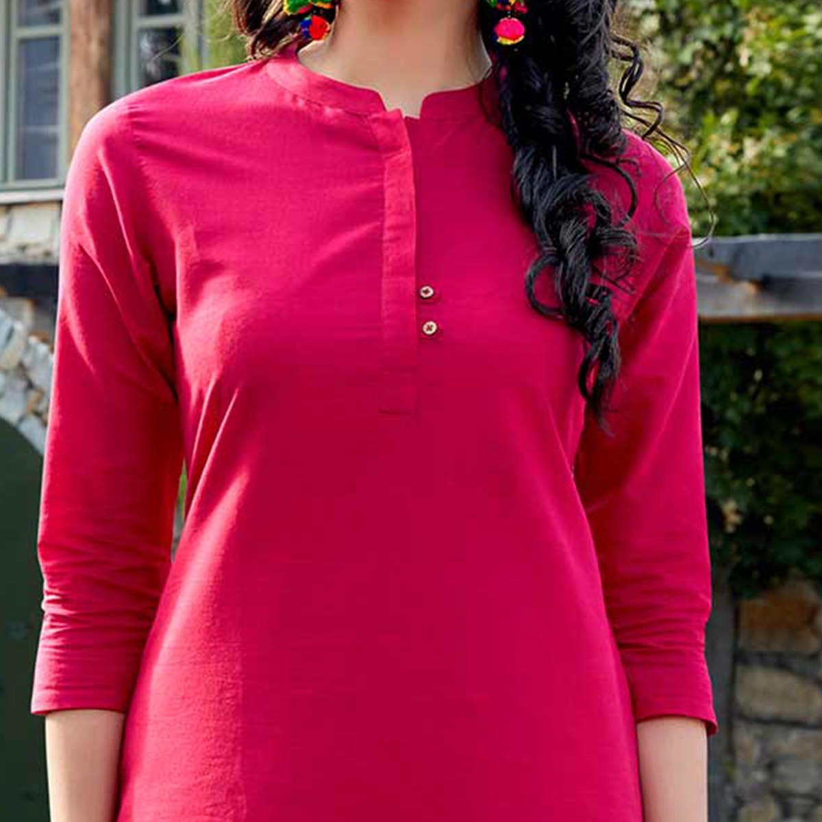 Pretty Fuchsia Pink Colored Casual Wear Cotton Kurti