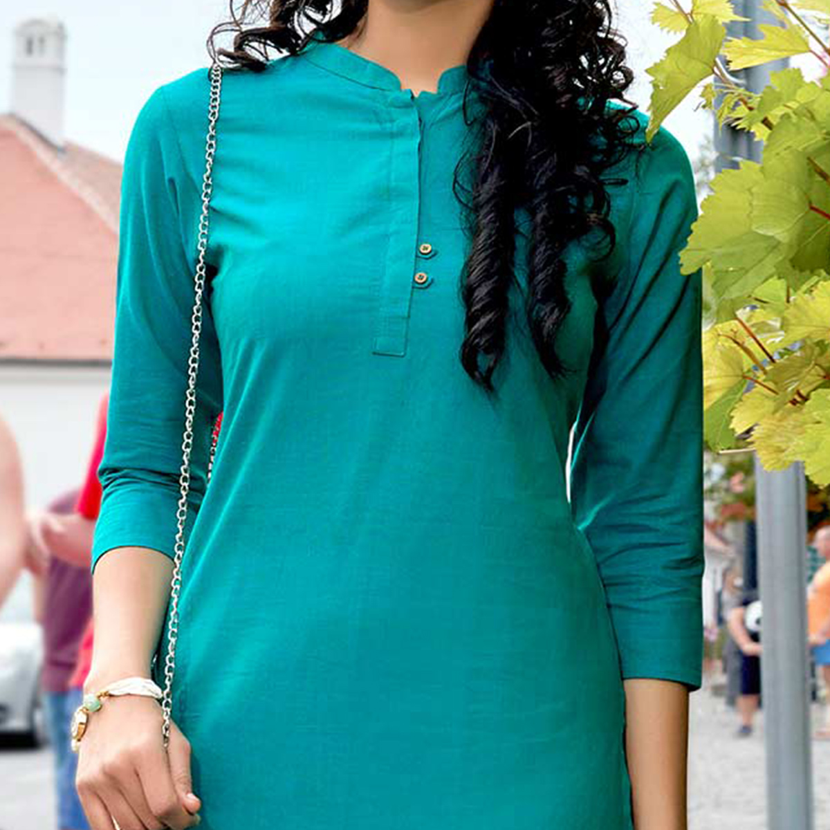 Adoring Turquoise Blue Colored Casual Wear Cotton Kurti