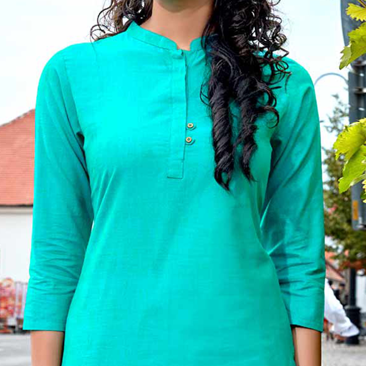 Glowing Aqua Blue Colored Casual Wear Cotton Kurti