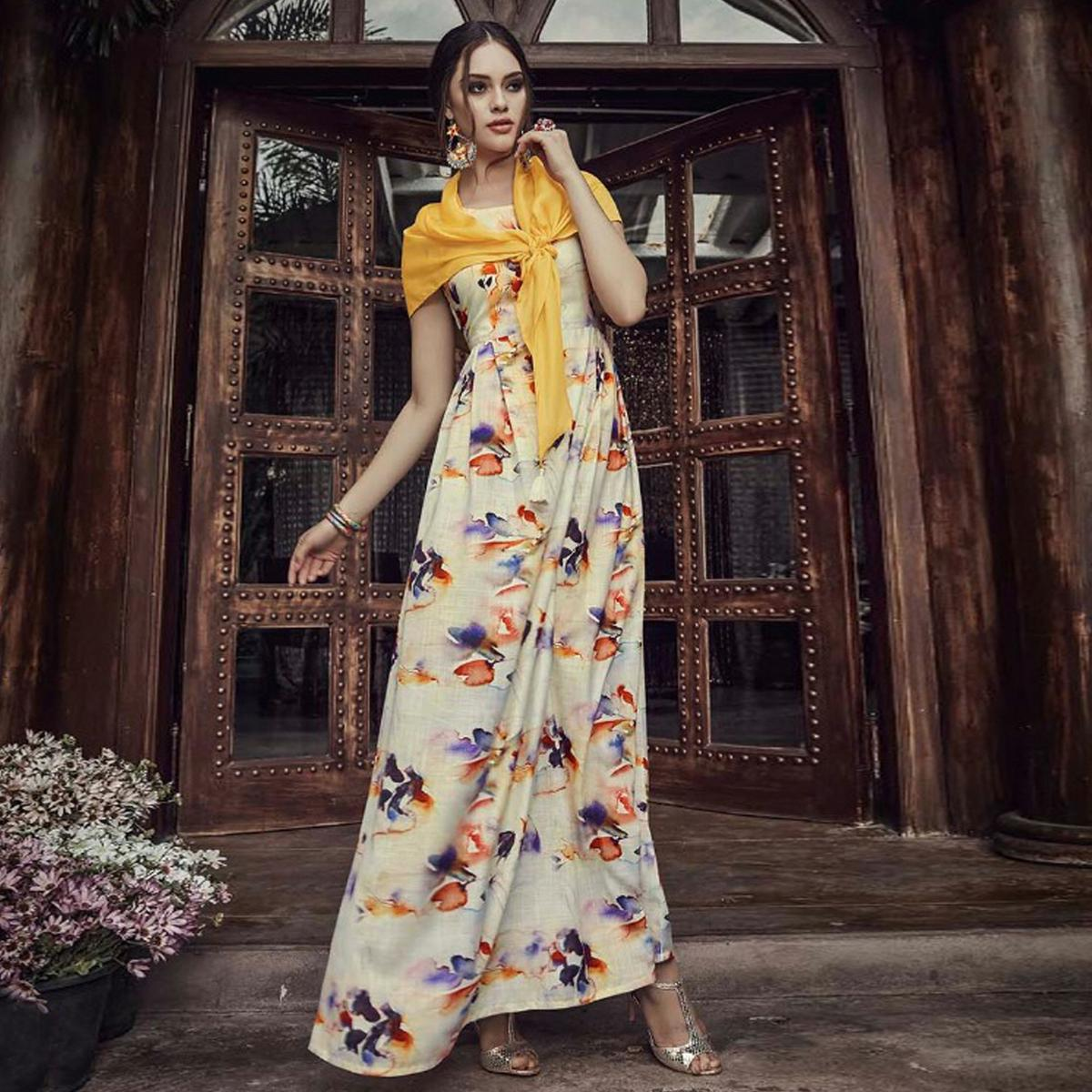 Pleasant Off White Colored Partywear Printed Raw Silk long Kurti