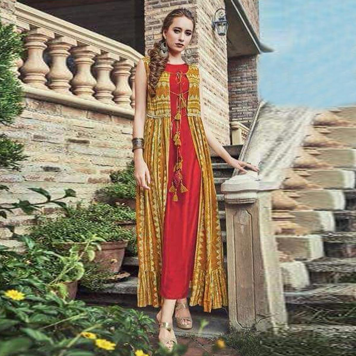 Classy Red-Yellow Colored Partywear Printed Silk-Rayon long Kurti