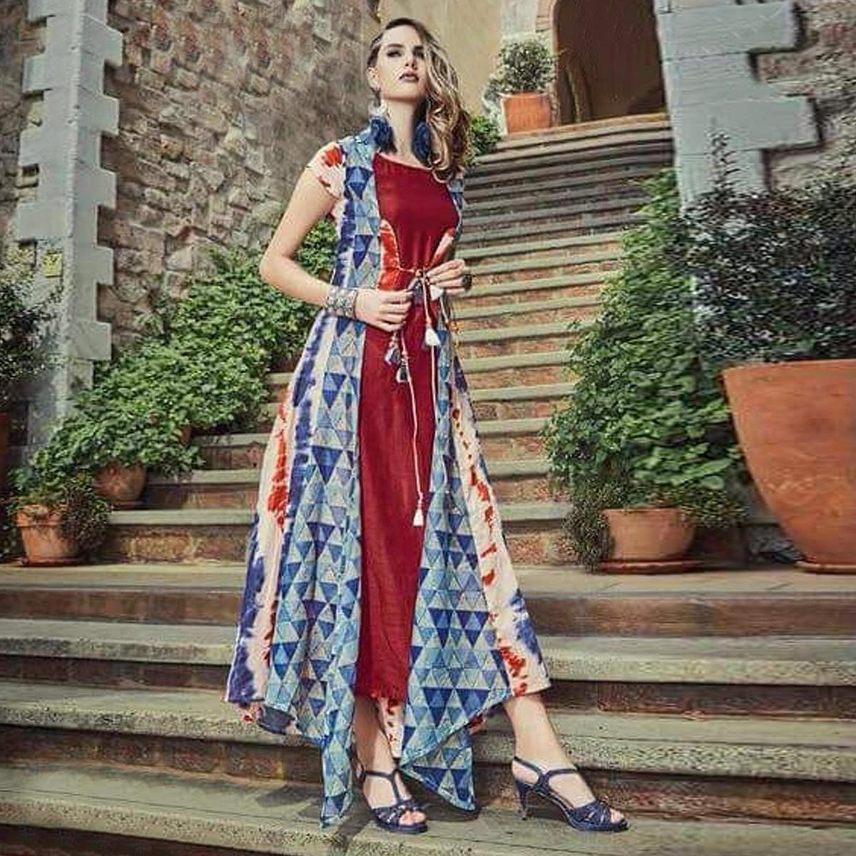 Impressive Maroon-Multi Colored Partywear Printed Cotton Silk-Chanderi Silk long Kurti