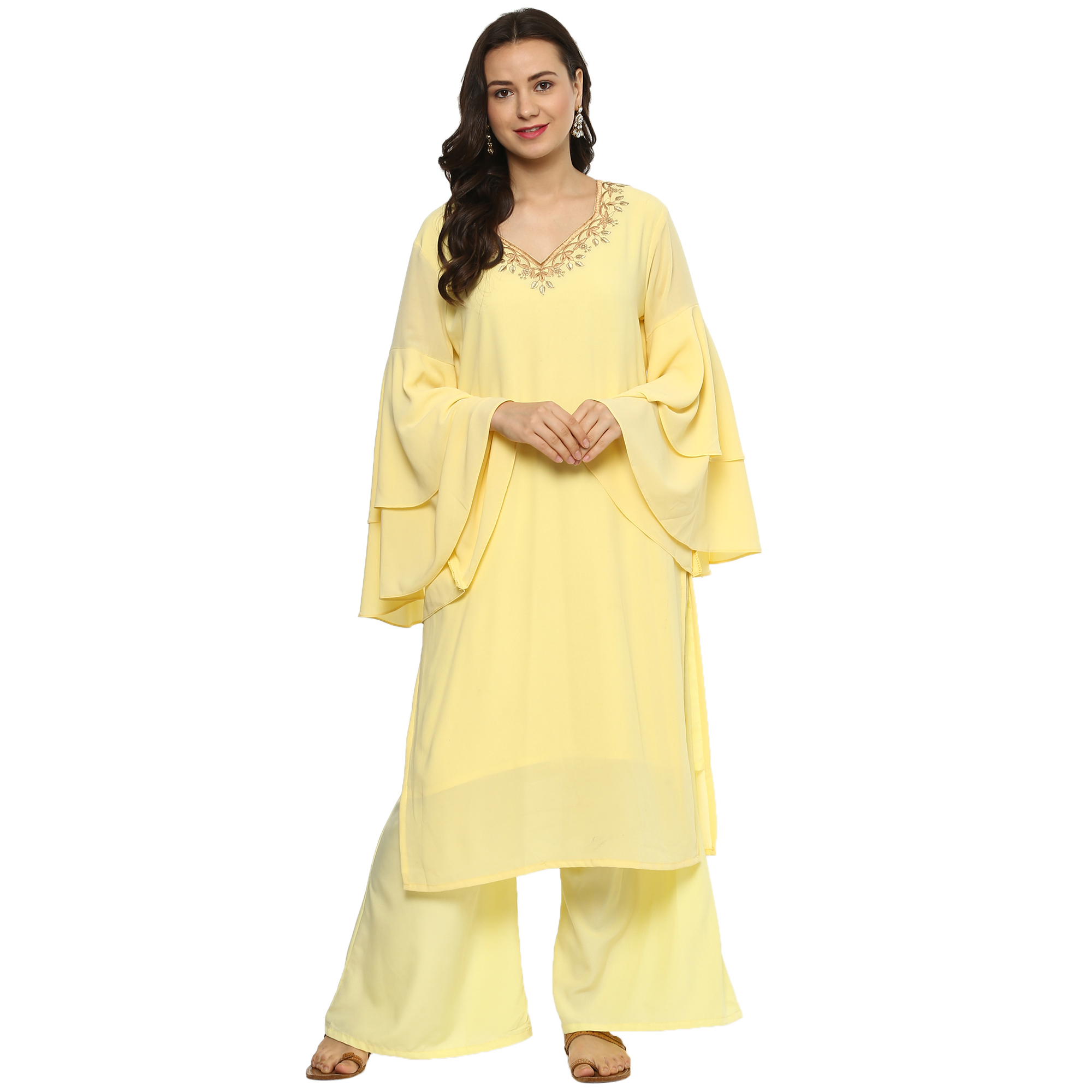 Beautiful Yellow Colored Casual Wear Embroidered Georgette Suit