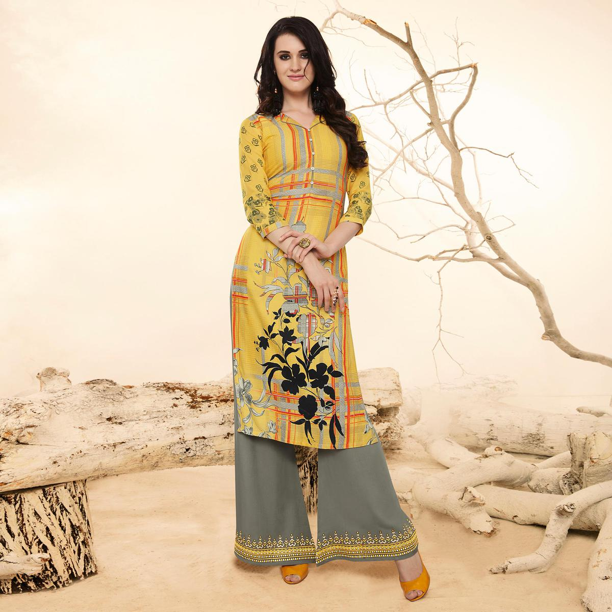 Magical Yellow Colored Casual Wear Rayon Kurti-Palazzo Suit