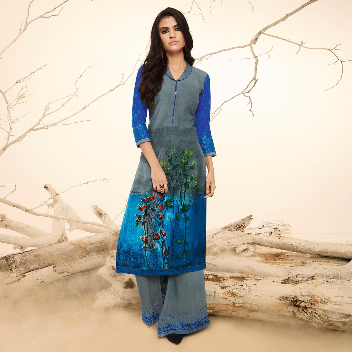Gloomy Grey Colored Casual Wear Rayon Kurti-Palazzo Suit