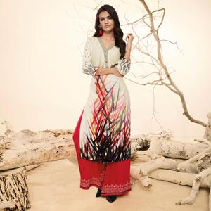 Whimsical White Colored  Casual Wear Rayon Kurti-Palazzo Suit.