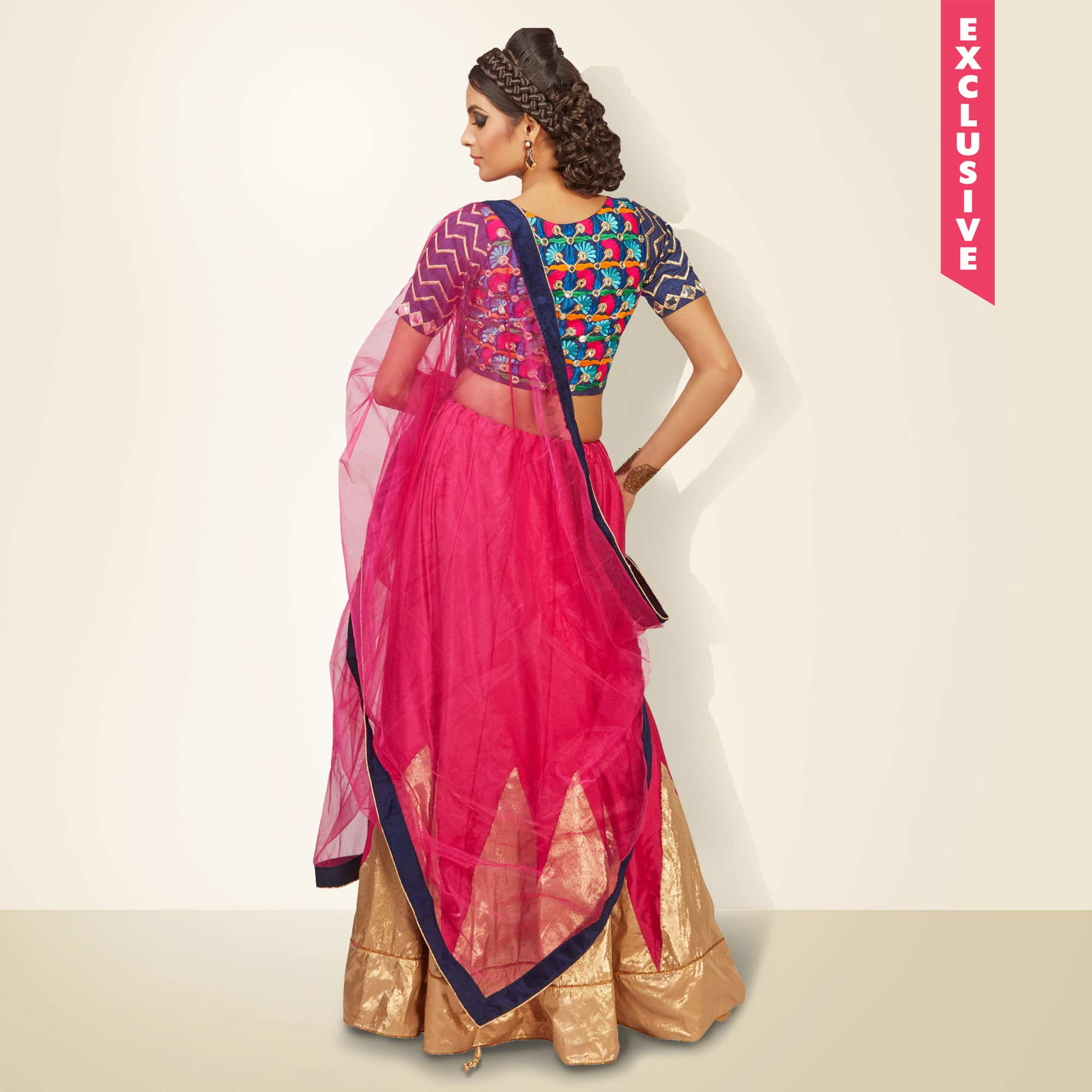 Hot Pink Embroidered Work Lehenga Choli