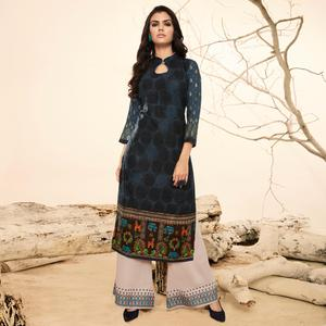Gorgeous Blue Colored  Casual Wear Rayon Kurti-Palazzo Suit.