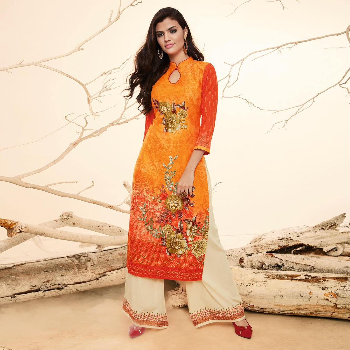 Blooming Orange Colored Casual Wear Rayon Kurti-Palazzo Suit.