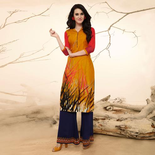 Melodious Yellow Colored Casual Wear Rayon Kurti-Palazzo Suit.