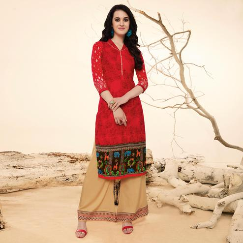 Ravishing Red Casual Wear Rayon Kurti-Palazzo Suit.