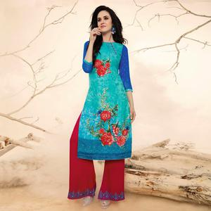 Glazing Blue Colored Casual Wear Rayon Kurti-Palazzo Suit.