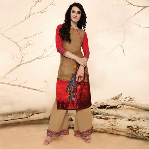 Potential Brown Casual Wear Rayon Kurti-Palazzo Suit.