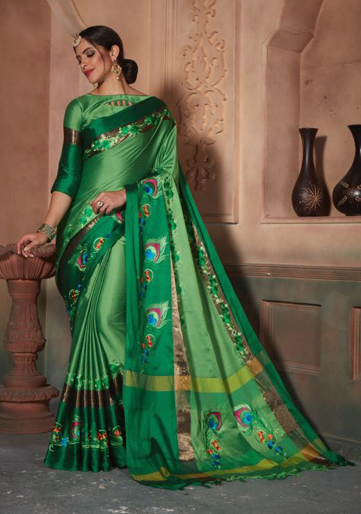Adorning Green Colored Festive Wear Embroidered Cotton Silk Saree