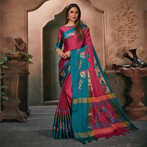 Charming Pink Colored Festive Wear Embroidered Cotton Silk Saree