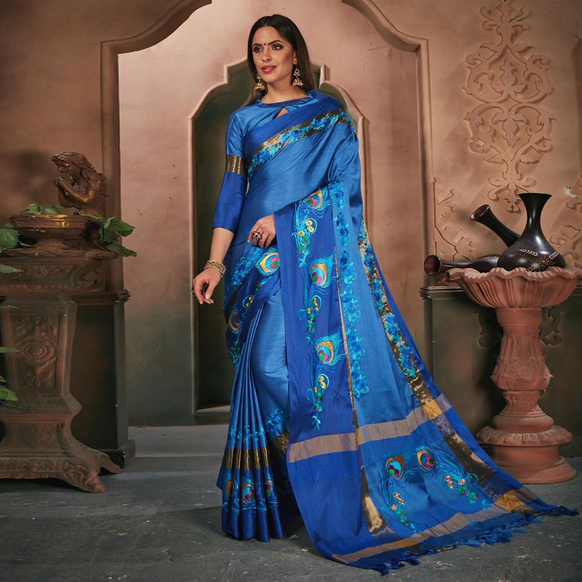Majestic Royal Blue Colored Festive Wear Embroidered Cotton Silk Saree