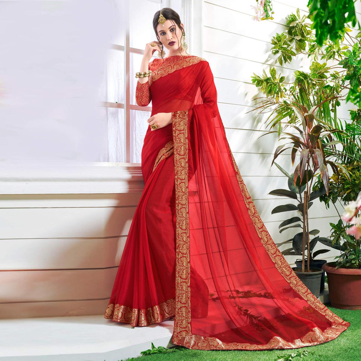 Radiant Red Colored Designer  Party Wear Chiffon Saree