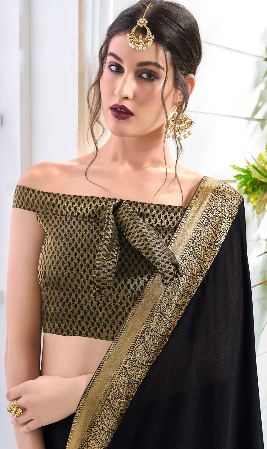 Blissful Black Colored Designer Party Wear Chiffon Saree