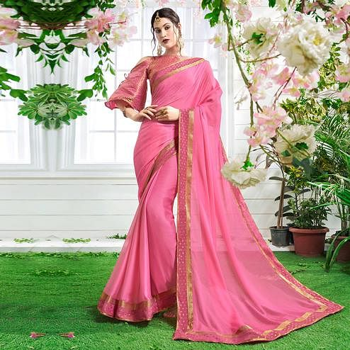 Paradise Pink Colored Designer Party Wear Chiffon Saree.