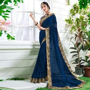 Elegant Blue Colored Designer Party Wear Chiffon Saree.