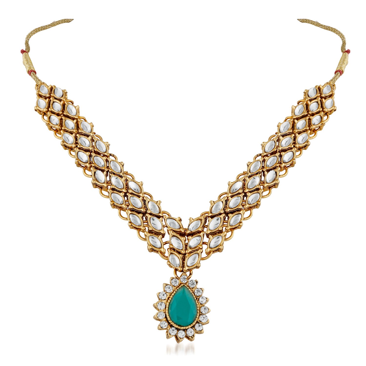Radiant Gold Finishing Pota Green Stone & Kundan Necklace Set with Maang Tikka