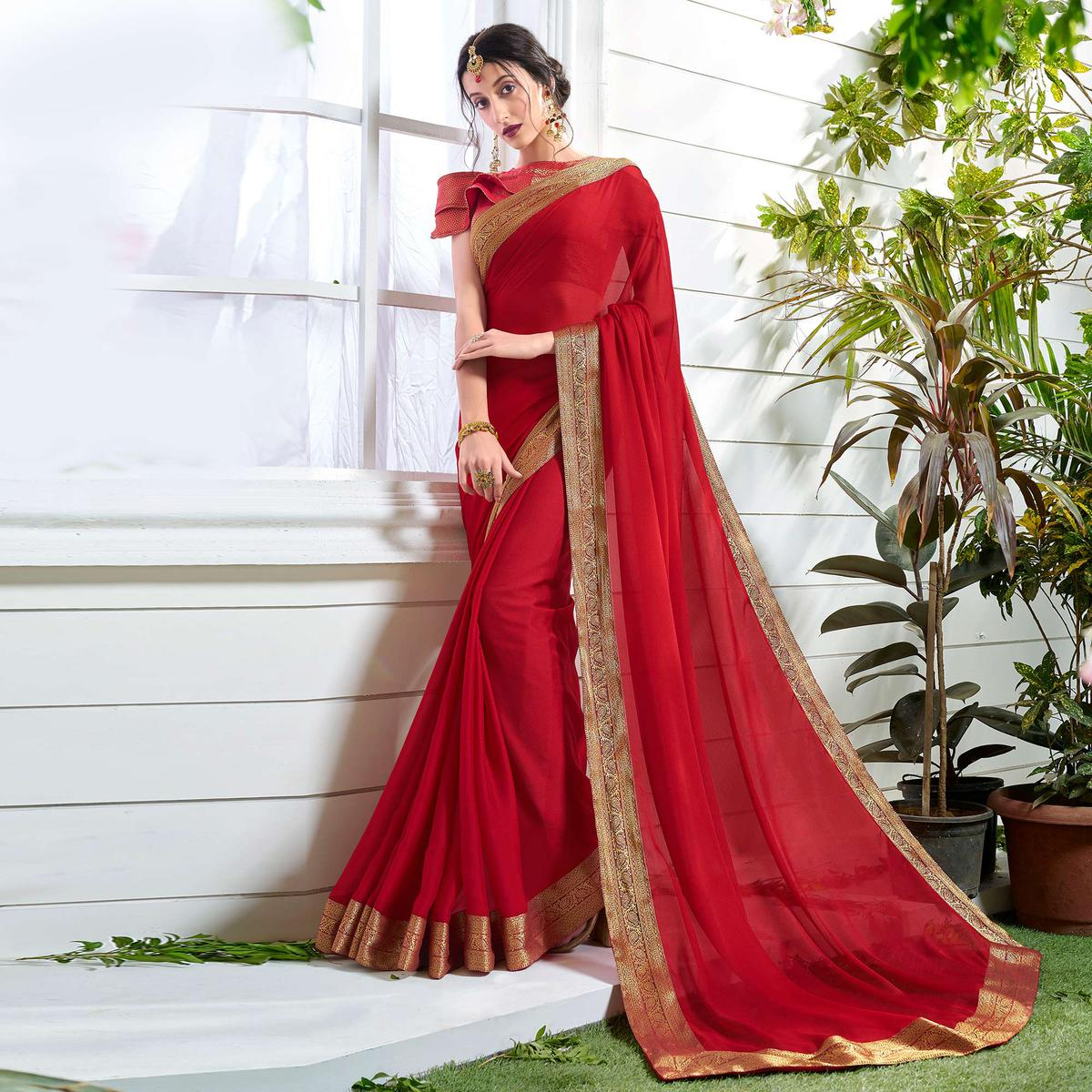 Pleasurable Red Colored Designer Party Wear Chiffon Saree.