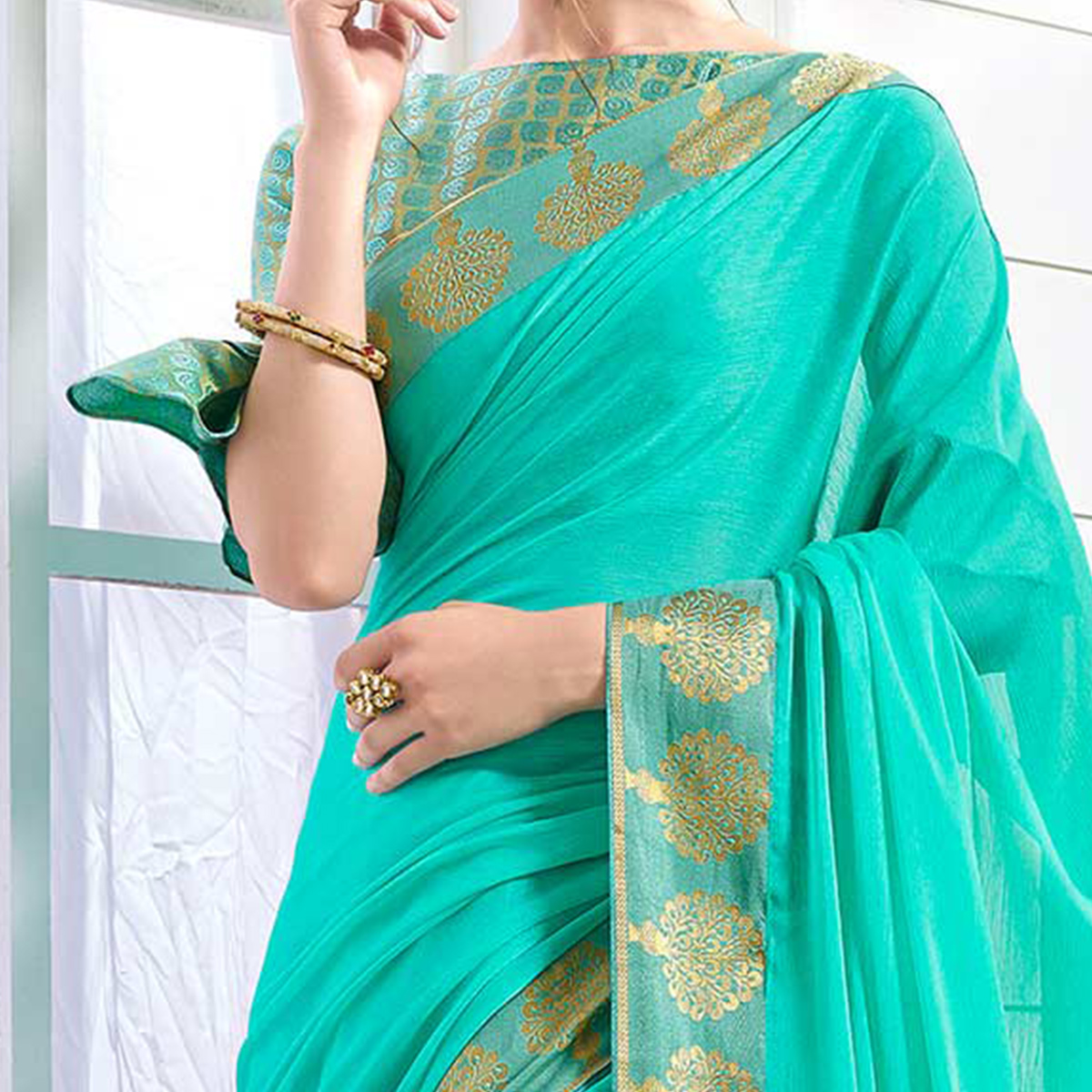 Glaring green Colored Designer Party Wear Chiffon Saree.