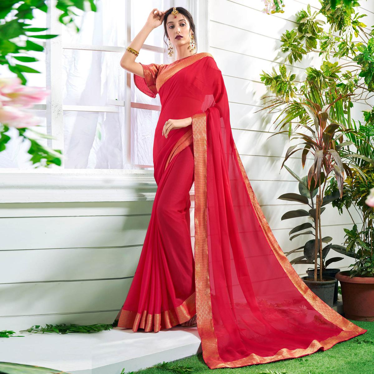 Stunning Red Colored Designer Party Wear Chiffon Saree.
