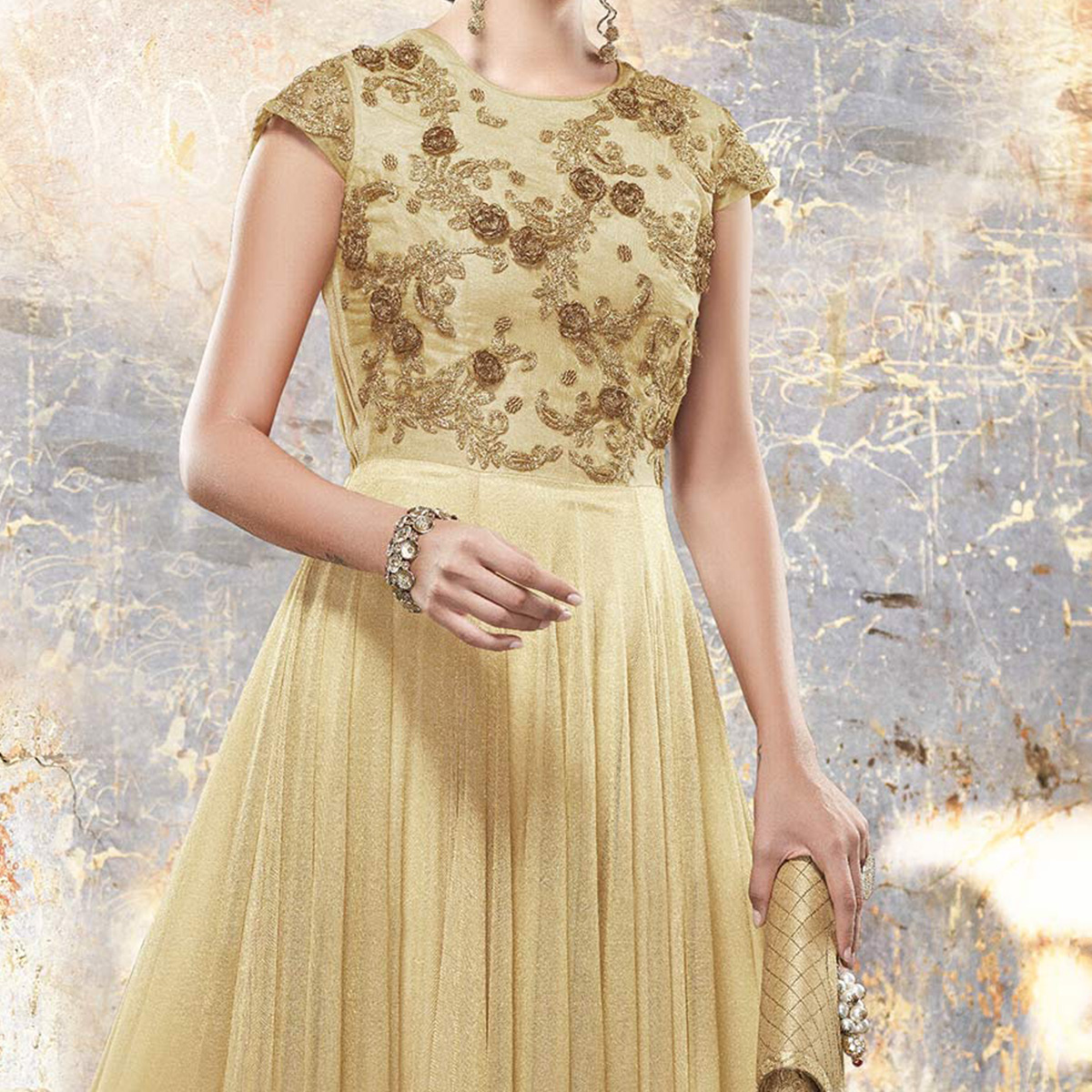 Blooming Beige Colored Designer Embroidered Partywear Art Silk Gown